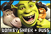Shrek series: Donkey, Puss in Boots and Shrek